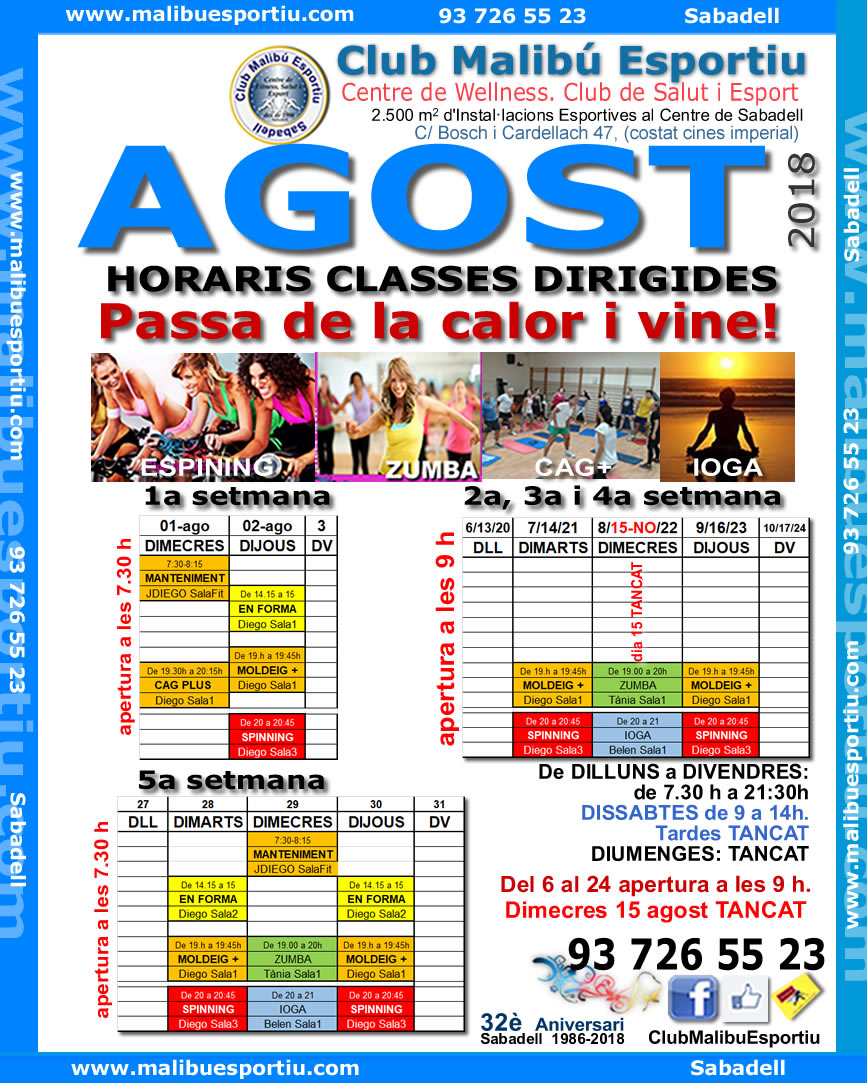 Club Malibú Esportiu: Horaris Classes Dirigides Agost 2018